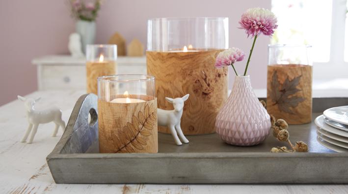 windlicht mit holzfurnier. Black Bedroom Furniture Sets. Home Design Ideas