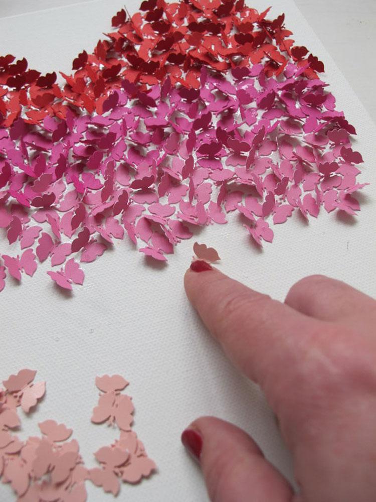 Schmetterlingsherz f r mutti for Leinwand dekorieren