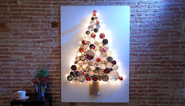 weihnachtsbaum aus papprollen. Black Bedroom Furniture Sets. Home Design Ideas